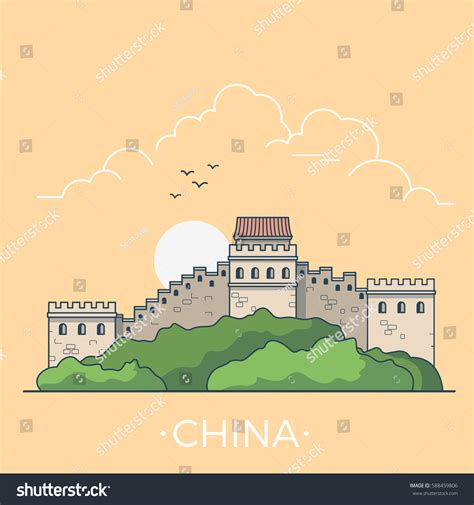 Great Wall Style great wall china country design template stock vector 588459806