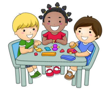 students working in groups clip art clay modelling crafts for kids