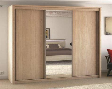 armoire portes coulissantes miroir meubles atlas armoire 3 portes coulissante 1 miroir chene