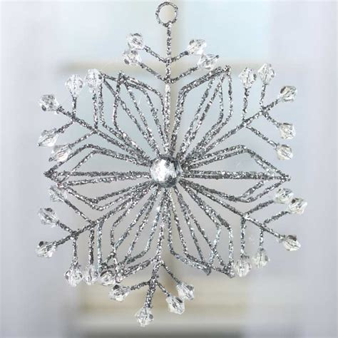 silver glittered crystal gem snowflake ornament