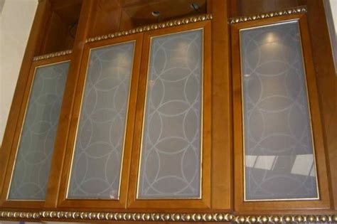 Etched Glass Designs For Kitchen Cabinets by Glass Door Cabinets Inserts Frosted Carved Custom Glass
