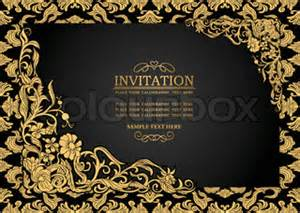 ornate vintage template background vector 04 over abstract background with antique luxury black and gold