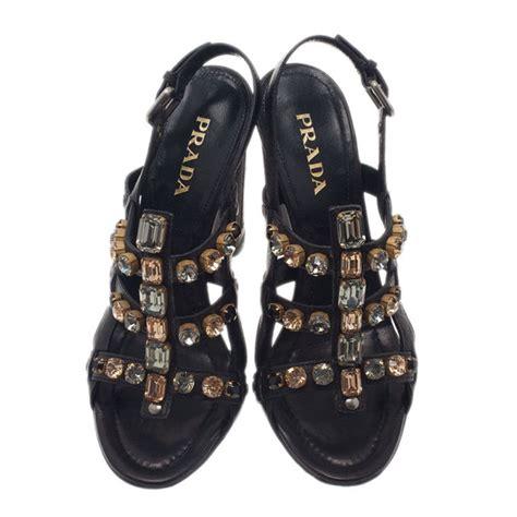 Prada Lc 1ba106 Black prada black embellished leather strappy sandals size 37 5