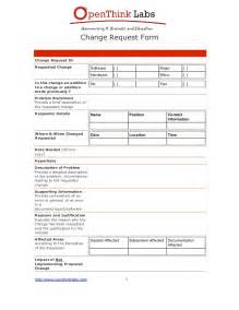 process change request form template software development change request template