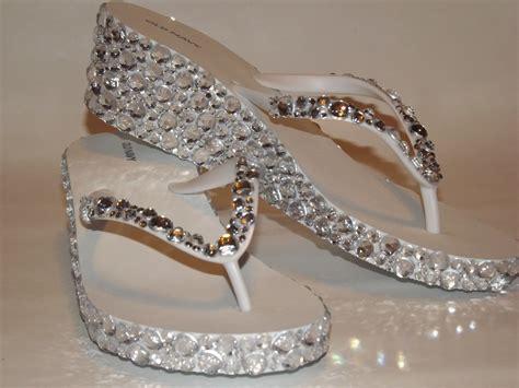 bling shoes rhinestone bling flip flop wedge sandals bridal wedding