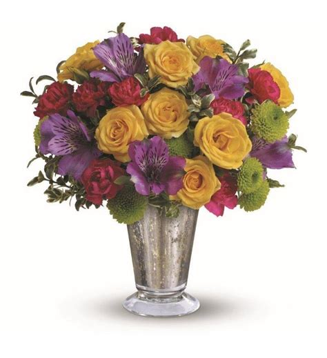 Unique Glass Vase Teleflora S Fancy That Bouquet Tev31 6a 38 66