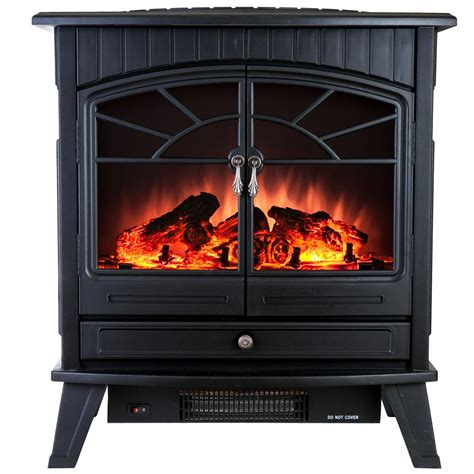 Freestanding Electric Fireplace Akdy 23 In Freestanding Electric Fireplace Stove Heater In Black With Vintage Glass Door