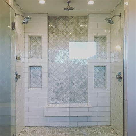 inset marble subway tile and white subway tile shower marble tile floor a b o