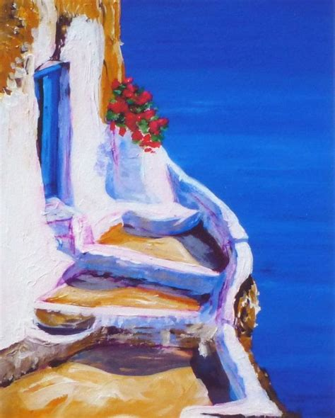 paint with a twist greece blue blue door summer painting greece santorini