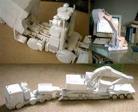 Paper Craft Square - tga liebherr 954 and lowboy trailer free paper