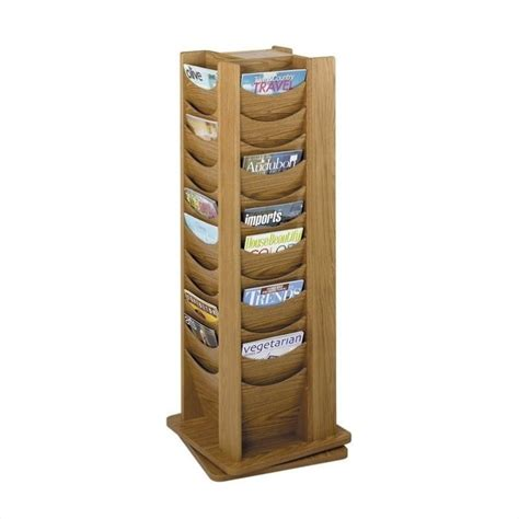 Rotating Magazine Rack by 48 Pocket Solid Wood Rotating Magazine Rack In Medium Oak