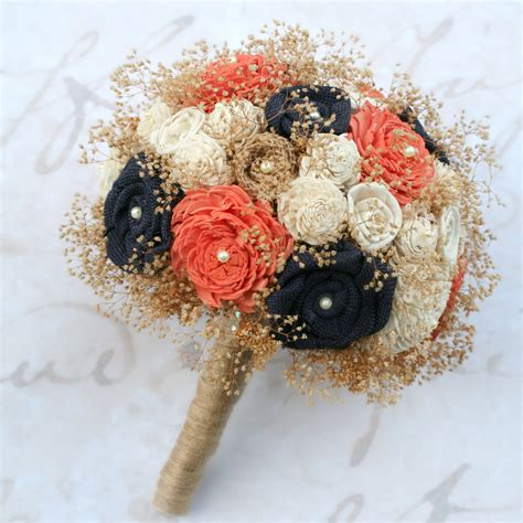 Wedding Bouquet Navy Blue by Navy Blue Coral Orange Bridal Bouquet
