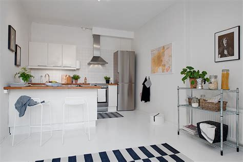 swedish small apartment kitchen design home round small single room apartment in black and white