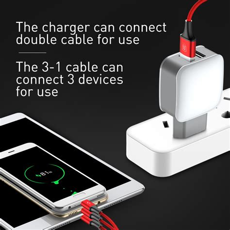 Kabel Usb 2 In 1 For All Type Smartphone baseus letour charger usb 2 port 2 4a with kabel usb 3 in 1 lightning micro usb type c white