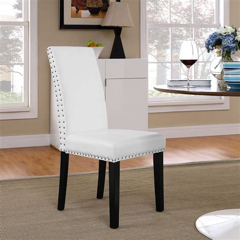 White Nailhead Dining Chair Parcel Dining Leatherette Side Chair Nailhead White Dcg Stores