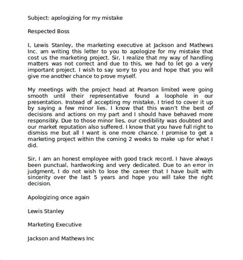 Apology Letter To For Missing Work Apology Letter For Mistake 8 Free Documents In Pdf Word