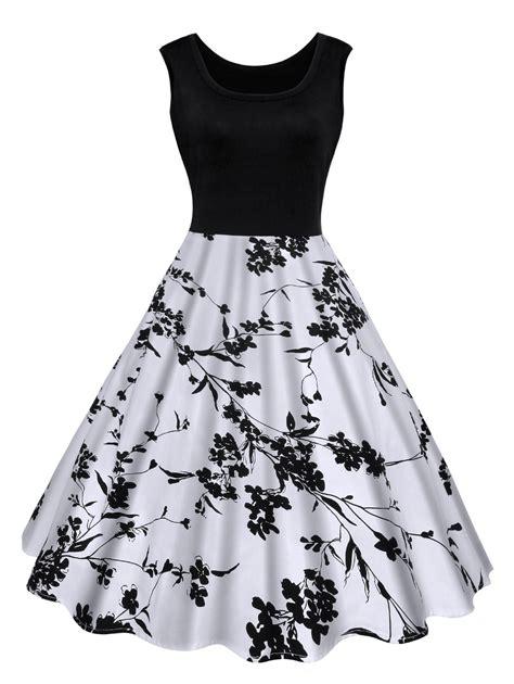 black and white clothing pattern vintage floral print midi dress in black m sammydress com