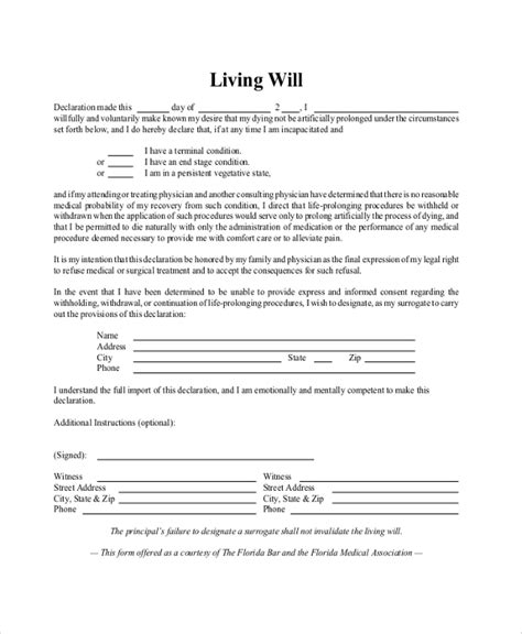 Living Will Form 4 Suggested Form Of A Living Will Florida Advance Directives Living Will Living Will Template Ny