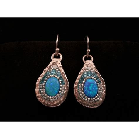 Beautiful Handmade Jewelry - beautiful handmade earrings blue silver point judaica