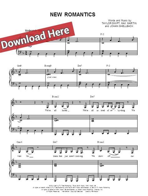change taylor swift guitar tabs taylor swift new romantics sheet music piano notes chords