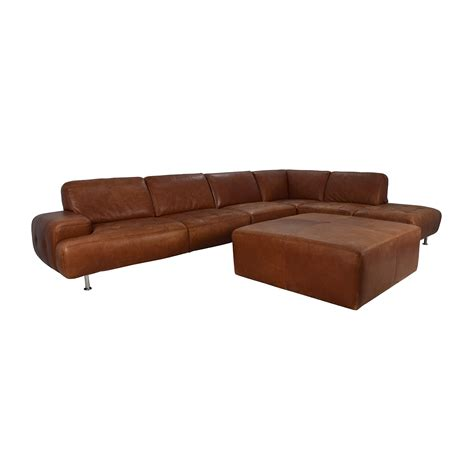 sectional and ottoman 53 w schillig w schillig leather sectional and