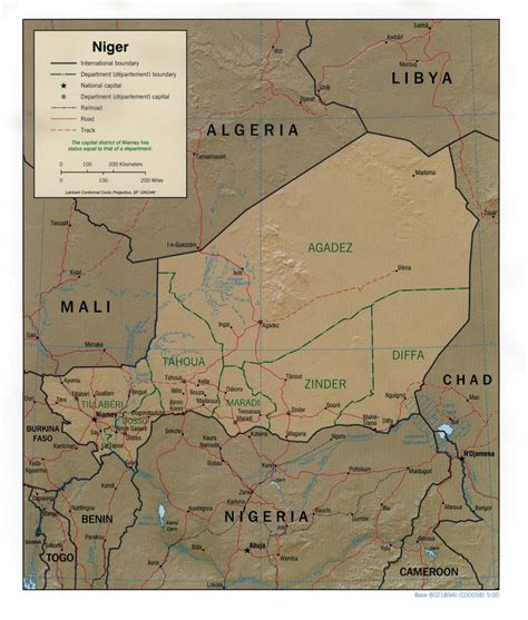 political map of niger detailed relief and political map of niger niger detailed