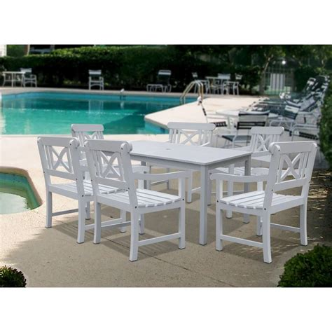 White Patio Tables Vifah Renaissance Scraped Acacia 7 Patio Dining Set With Herringbone Back Armchairs