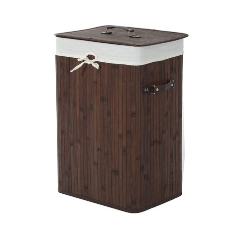 Homcom Square Spa Style Bamboo And Canvas Laundry Her Brown Laundry