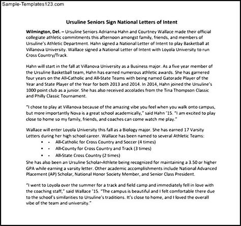 National Letter Of Intent Exle Pdf baldwinsville national letter of intent pdf sle format