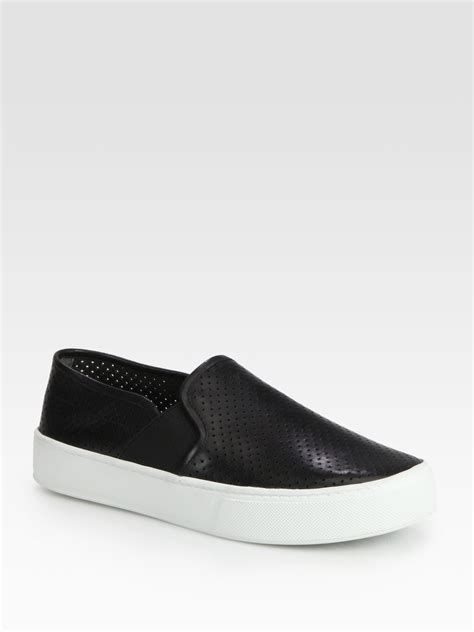 vince sneaker vince blair perforated leather sneakers in black lyst