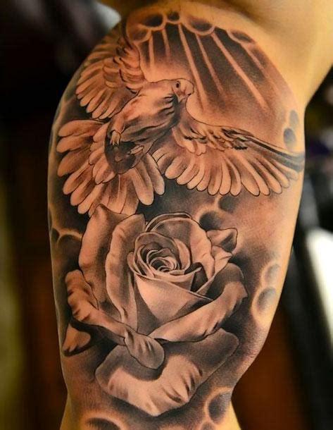 dove and rose tattoo idea