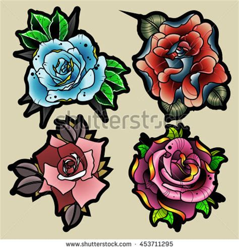 new school tattoo vector traditional tattoo style flowers set new stock vector