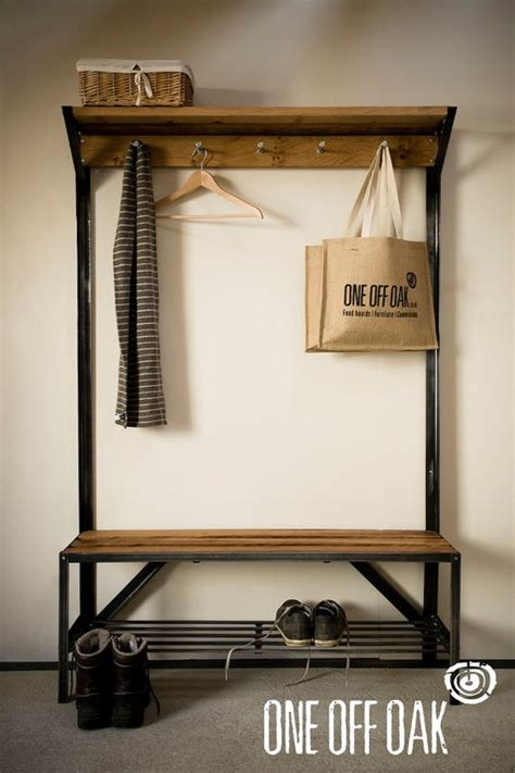 boot bench with coat rack english oak and steel coat rack bench that time i moved into a studio apartment pinterest