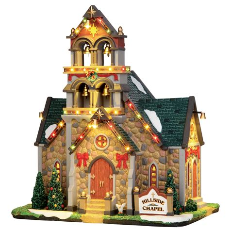 lemax lights lemax collection caddington hillside bell chapel light up building
