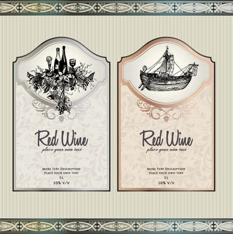 wine label templates free vintage elements of wine labels vector material 03