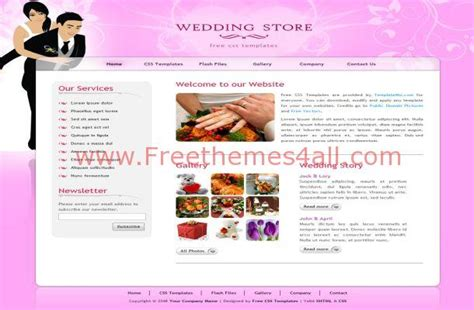 Free Html Pink Wedding Css Website Template Download Free Wedding Website Templates Html And Css