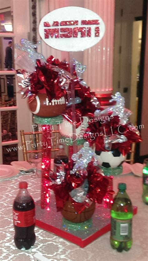 17 Best Images About Sweet 16 On Pinterest Candy Dishes Sports Theme Centerpieces