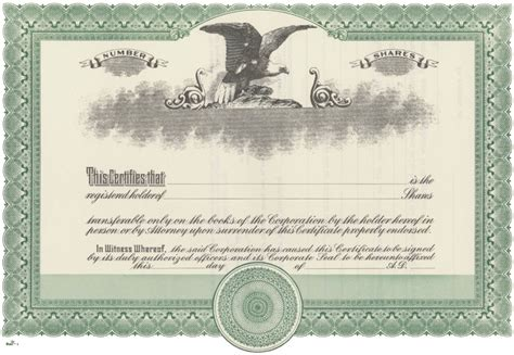 corporate stock certificate template blank stock certificate free printable documents