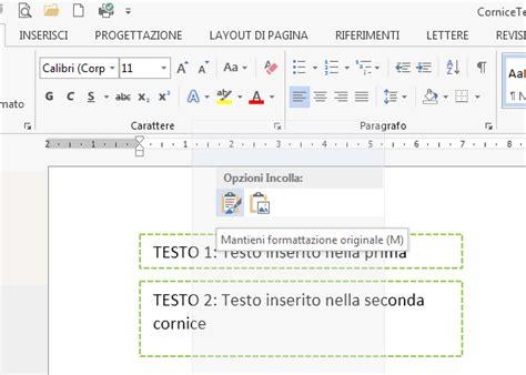 cornici per testo come estrarre il testo da cornici di testo con office word