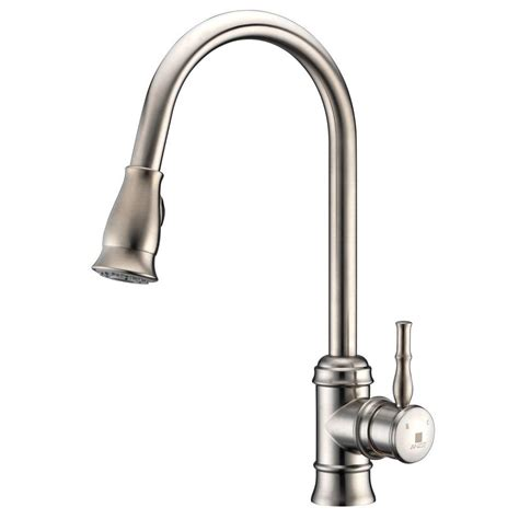 pull kitchen faucet brushed nickel anzzi sails series single handle pull sprayer kitchen faucet in brushed nickel kf az130