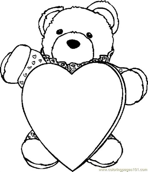 bear and heart coloring pages