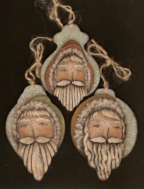 oh christmas string folk art items similar to 3 santas ornament gift tag primitive folk painting e pattern by donna