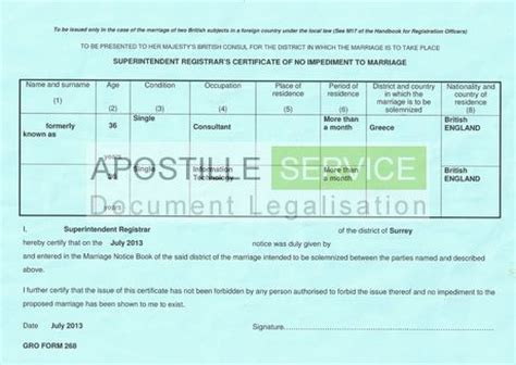 Us Embassy Letter Of No Impediment Apostilles For Certificate Of No Impediment Apostille Service