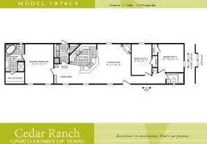 Cavco Homes Floor Plan 1876cr 3 Bedroom 2 Bath Single Wide 2 Bedroom House Plans One Level Doublewide