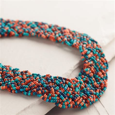 beaded braided necklace soft coral and blue bead braided necklace world market