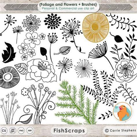 doodle flower brushes photoshop modern flower doodles png clip foliage photoshop