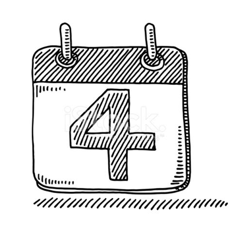 Day Number Calendar Day Calendar Symbol Number 4 Drawing Stock Photos