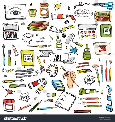 doodle create tools doodle craft tools stock vector 448849021