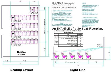 Floor Plans With Measurements by Alden Theater Seating Specification Page Auditorium
