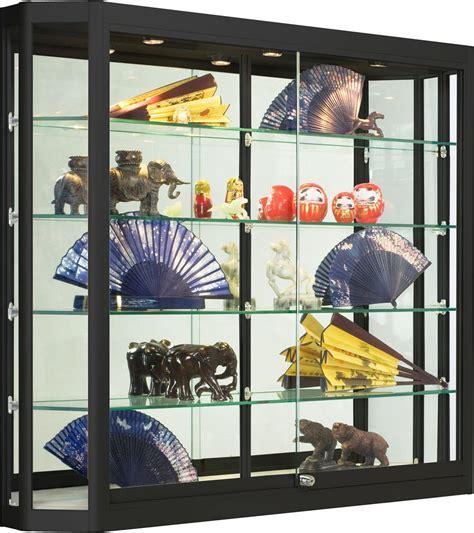 Wholesale Glass Display Case   Black w/ Sliding Doors